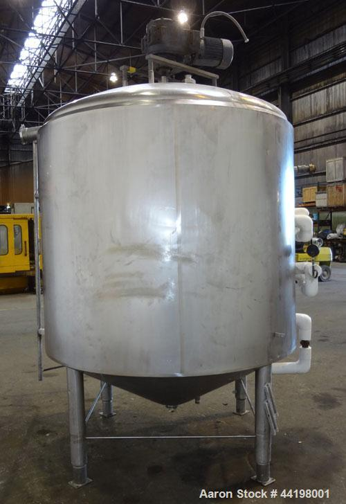 """Used- Cherry-Burrell Processor Kettle, 1000 Gallon, 304 Stainless Steel, Vertical. 72"""" Diameter x 60"""" straight side. Dished ..."""