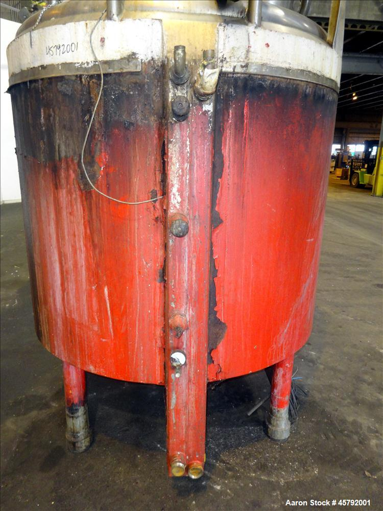 Used- Cherry Burrel Kettle, 800 Gallon 316 Stainless Steel Sanitary Jacketed Tan