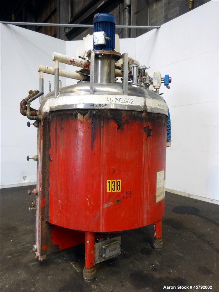 Used- Kettle, 850 Gallon 316 Stainless Steel Sanitary Jacketed Tank