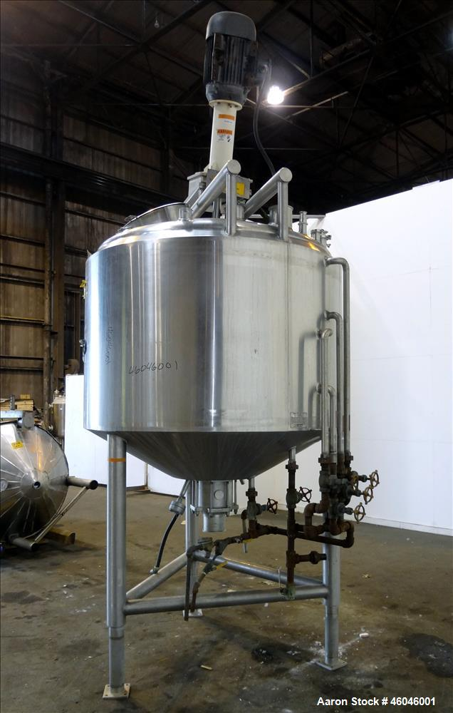 "Used- Cherry-Burrell Kettle, 600 Gallon, 316L Stainless Steel, Vertical. 66"" Diameter x 41-3/16"" straight side, dished top, ..."