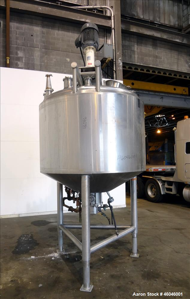 """Used- Cherry-Burrell Kettle, 600 Gallon, 316L Stainless Steel, Vertical. 66"""" Diameter x 41-3/16"""" straight side, dished top, ..."""