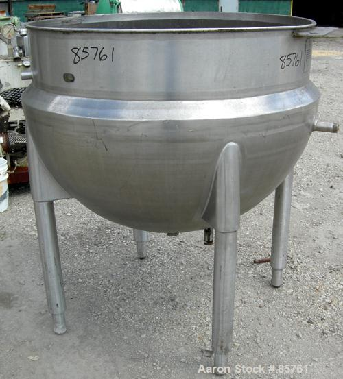 "USED: Cherry Burrell kettle, 200 gallon, 304 stainless steel, vertical. Approximate 48"" diameter x 38"" deep. Open top, no co..."