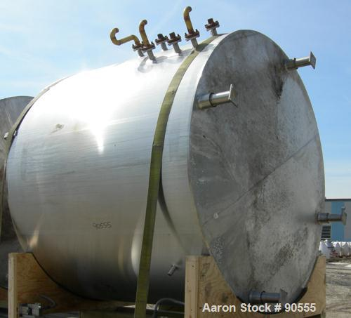 "USED: Cherry Burrell jacketed tank,approx. 2400 gallon, 304 stainless steel, vertical.  96"" diameter x 78"" straight side.  D..."