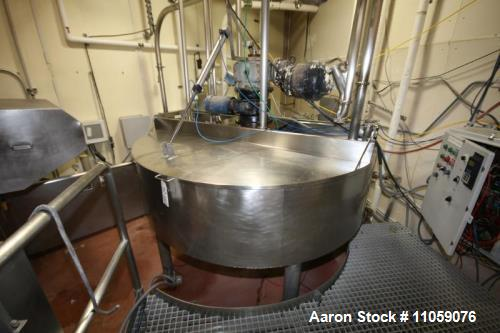 Used Chester Jensen model M70N40C.C, 400 gallon working and 642 total Gallon Cone Bottom Jacketed Processor/Kettle/Cooker. J...