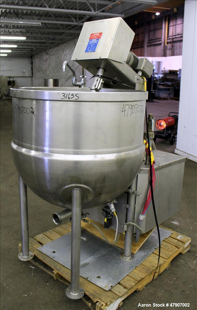 "Used- Cleveland Inclined Agitator Kettle, 100 Gallon, Model IA-MKDL-100, 316 Stainless Steel. Approximate 36"" diameter x 32""..."