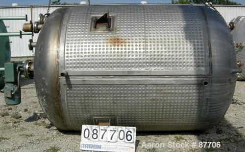 """Used- Continental Tank Company Kettle, 2300 Gallon, 304L Stainless Steel, Vertical. 84"""" Diameter x 84"""" straight side, ellipt..."""