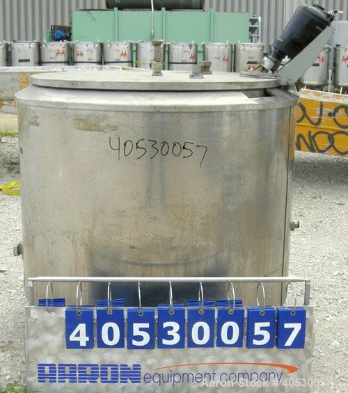 "Used- Creamery Package kettle, 200 gallon, 304 stainless steel, vertical. Approximately 44"" diameter x 33"" straight side, op..."