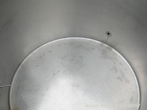 """Used- Creamery Package kettle, 200 gallon, 304 stainless steel, vertical. Approximately 44"""" diameter x 33"""" straight side, op..."""