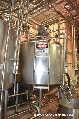 Used- 800 Gallon Crepaco Jacketed Mix Tank / Processor with Sweep Agitation. Jacket rated 50 PSI. Dish top, cone Bottom, baf...