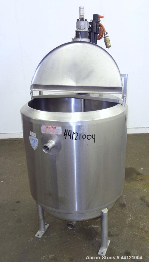 """Used- Crepaco Kettle, 60 Gallon, 304 Stainless Steel, Vertical. 24"""" Diameter x 30"""" straight side. 1/2 Hinged top cover, slig..."""