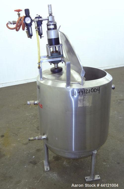 "Used- Crepaco Kettle, 60 Gallon, 304 Stainless Steel, Vertical. 24"" Diameter x 30"" straight side. 1/2 Hinged top cover, slig..."