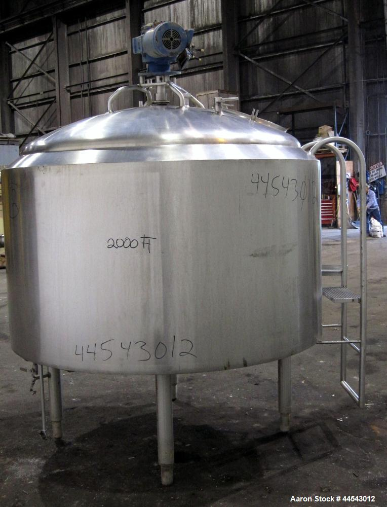 "Used- Crepaco Kettle, 500 Gallon, 304 Stainless Steel, Vertical.  Approximately 66"" diameter x 36"" straight side, dished top..."