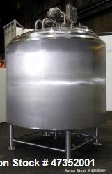 Used-Crepaco Processor Kettle, 2500 Gallon, 304 Stainless Steel, Vertical. 96'' Diameter x 76'' straight side, dished top, c...