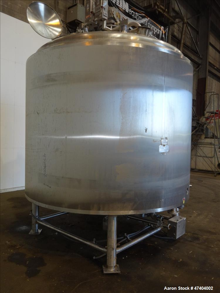 Used- Crepaco Processor Kettle, 2500 Gallon, 304 Stainless Steel, Vertical.