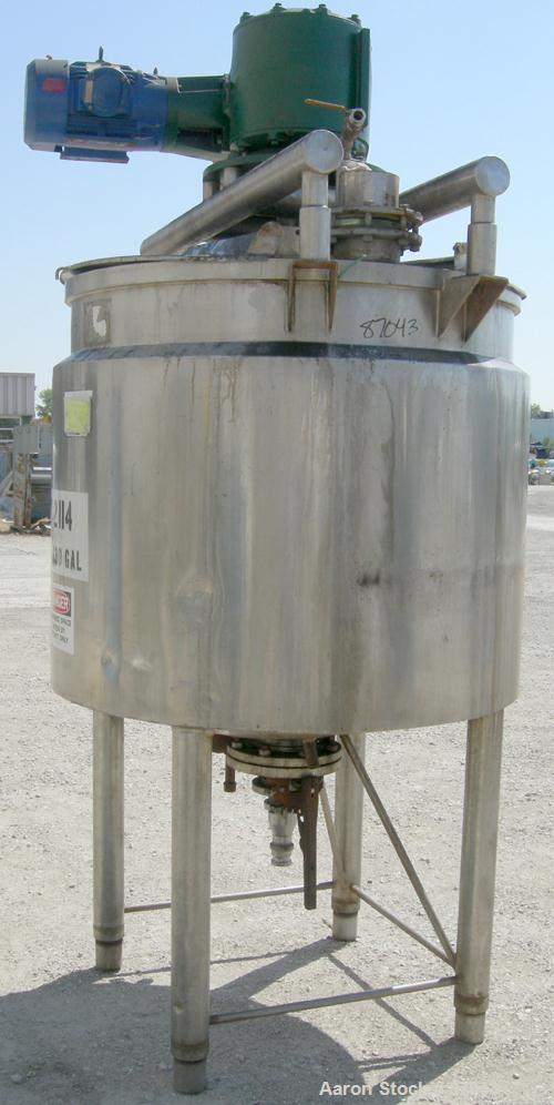 "USED: Crepaco processor/kettle, 330 gallon, 304 stainless steel, vertical. Approximate 50"" diameter x 43"" straight side. Ope..."