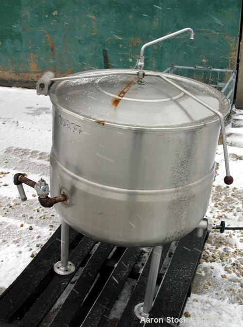 """USED:Crown 60 gallon kettle, 304 stainless steel, 28"""" diameter x26"""" deep, open top with hinged top cover, 1/2 jacketed hemis..."""
