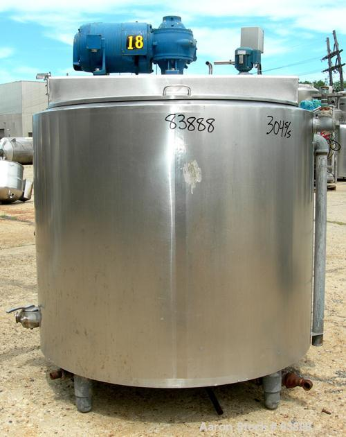 """USED: Damrow processor/kettle, 300 gallon, model MPC, 304 stainless steel, vertical. 48"""" diameter x 42"""" straight side, flat ..."""