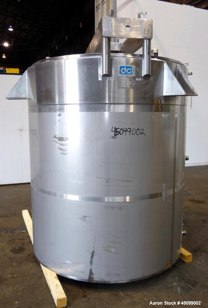 """Used- DCI Processor Kettle, 1000 Gallon, Model PWP-CB, 316 Stainless Steel, Vertical. 66"""" Diameter x 68"""" straight side, flat..."""