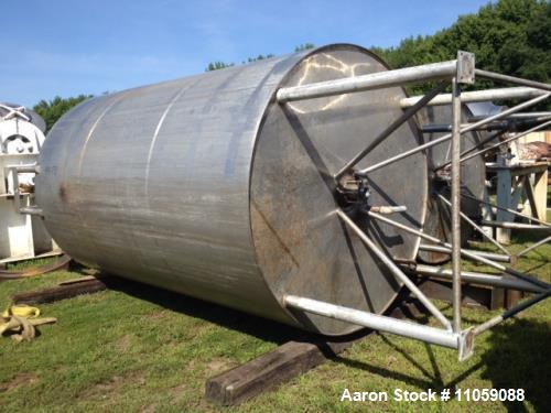 """Used- DCI, 3000 gallon, Stainless Steel, Jacketed Tank. Approximately 7' ID x 11' T/T. (7'6"""" OD x 17'10"""" OAH). Has mount for..."""