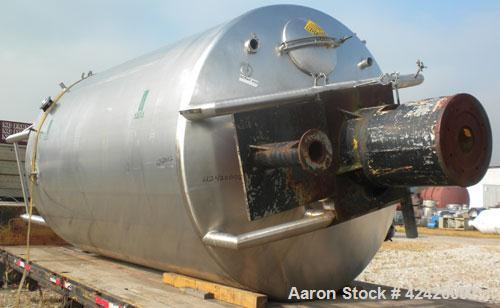 "Used- Processor Kettle, 4000 Gallon, 316 stainless steel, vertical. 90"" Diameter x 144"" straight side, dish top, slight cone..."