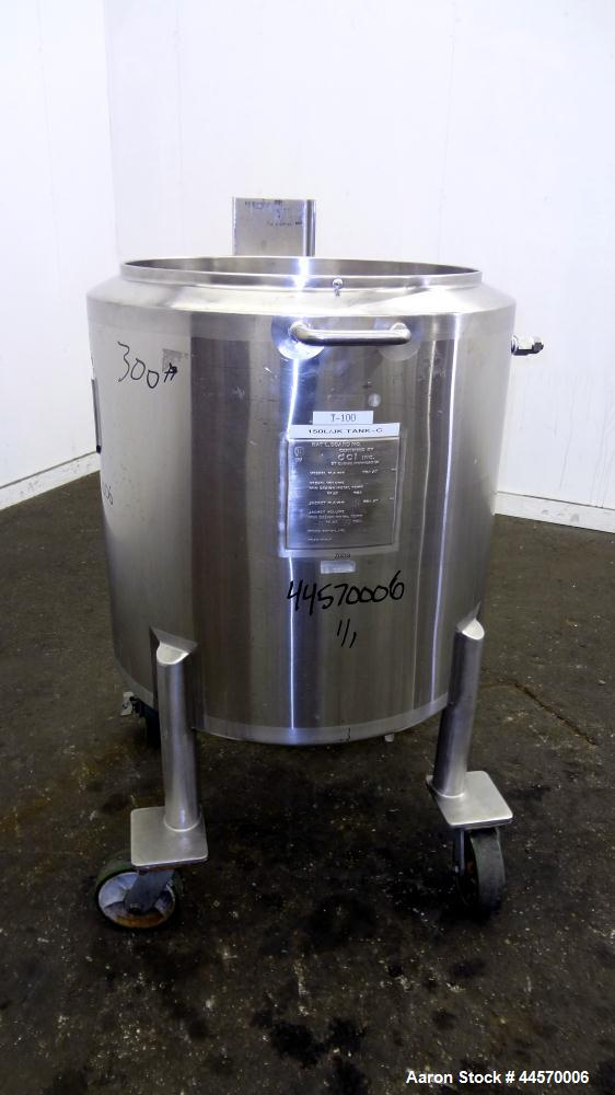 """Used- DCI Kettle, 150 Liter (39.6 Gallon), 316L Stainless Steel, Vertical.  23"""" Diameter x 20"""" straight side, open top, no c..."""