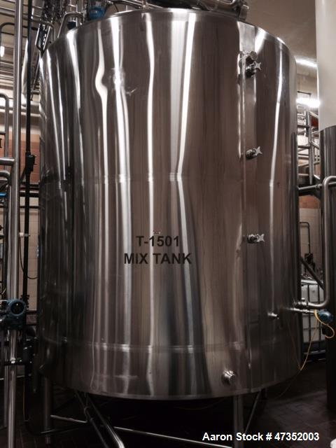 """Used-DCI Processor Kettle, 3000 Gallon, 304 Stainless Steel, Vertical.  96"""" Diameter x 91"""" straight side.  Dished top, coned..."""