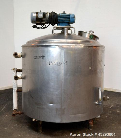 "Used- De Laval Processor Kettle, 500 Gallon, Model DPW, 304 Stainless Steel, Vertical.  60"" Diameter x 44"" straight side. Di..."