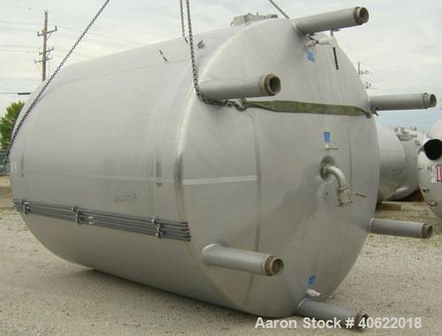 "Used- Mueller 6,100 gallon kettle, model F, 304 stainless steel, vertical.  112"" diameter x approximately 134 7/8"" straight ..."