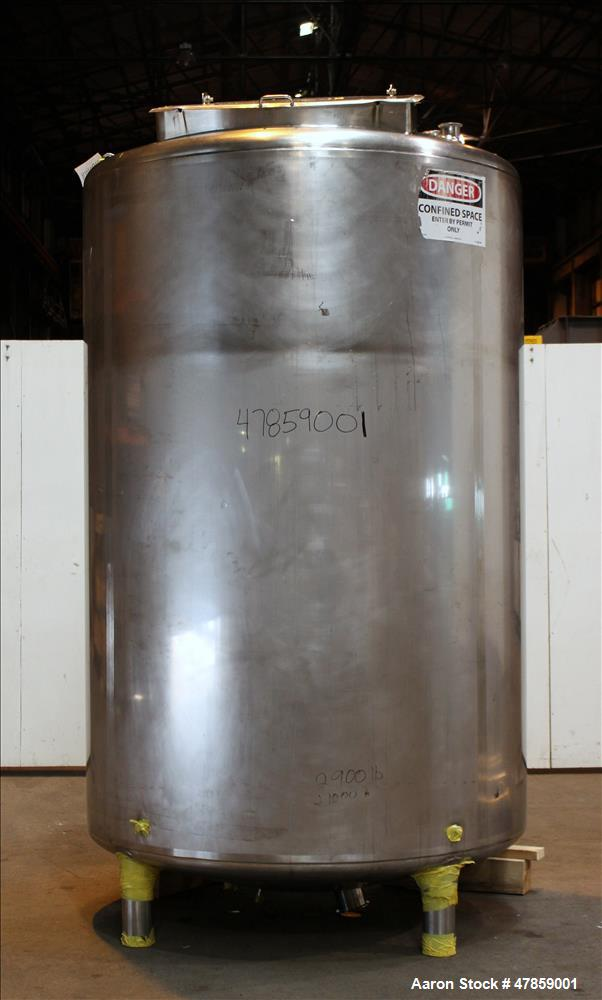 "Used- Feldmeier EPC Kettle, 1,100 Gallon, 316L Stainless Steel, Vertical. 60"" Diameter x 96"" straight side, dished top, tori..."