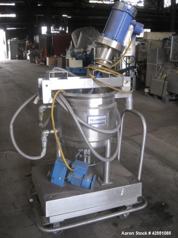 Used- Feldmeier Twin Motion Kettle, 60 Liter (15.8 Gallon), 304 Stainless Steel. Open top, dish bottom. Bridge mounted agita...