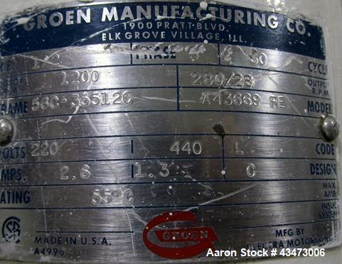 Used- 10 Gallon Stainless Steel Groen Kettle