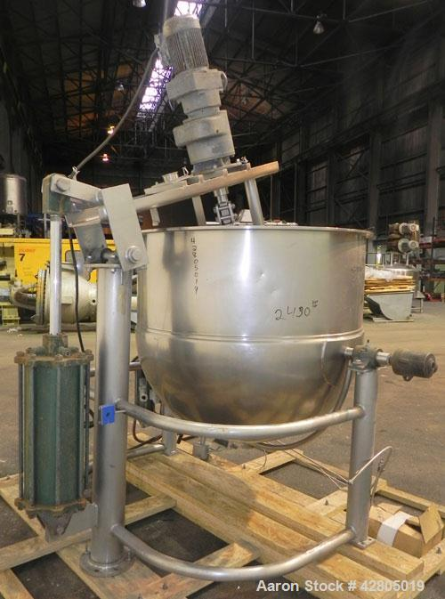 Used- Groen Inclined Single Motion Kettle, 250 Gallon, Model DN-INA-2-TA-250, 316 Stainless Steel. 54'' Diameter x 48'' deep...