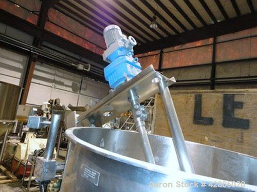 Used- Groen 250 Gallon Inclined Single Motion Scraper Agitated Hemispherical Jacketed 316 Stainless Steel Kettle, Model DNIN...
