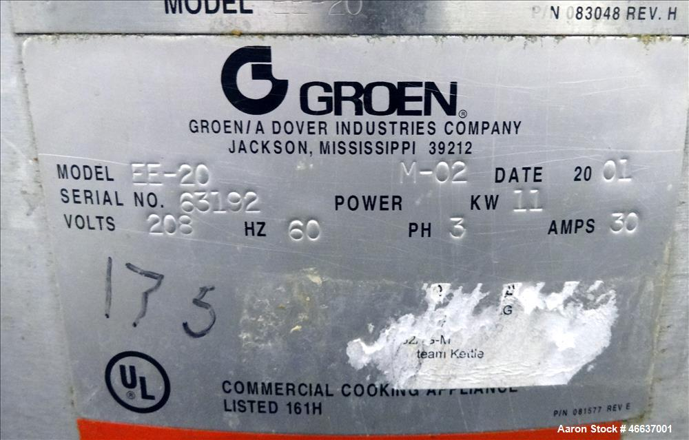 Used- Groen / Dover Ind Kettle, Model EE-20