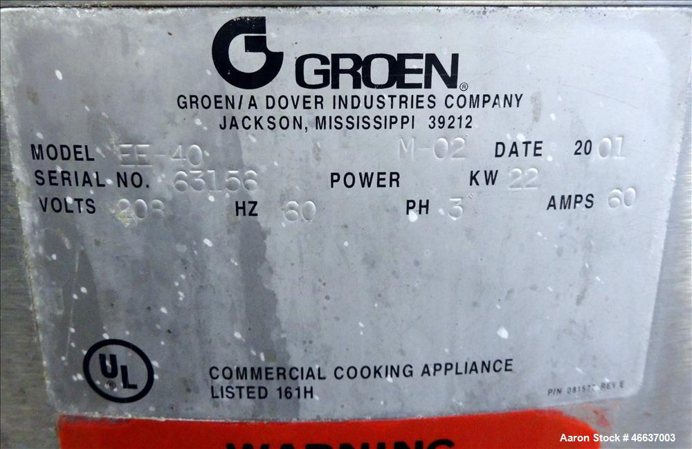 Used- Groen Kettle, Model EE-40, 40 Gallon, 316 Stainless Steel, Vertical.
