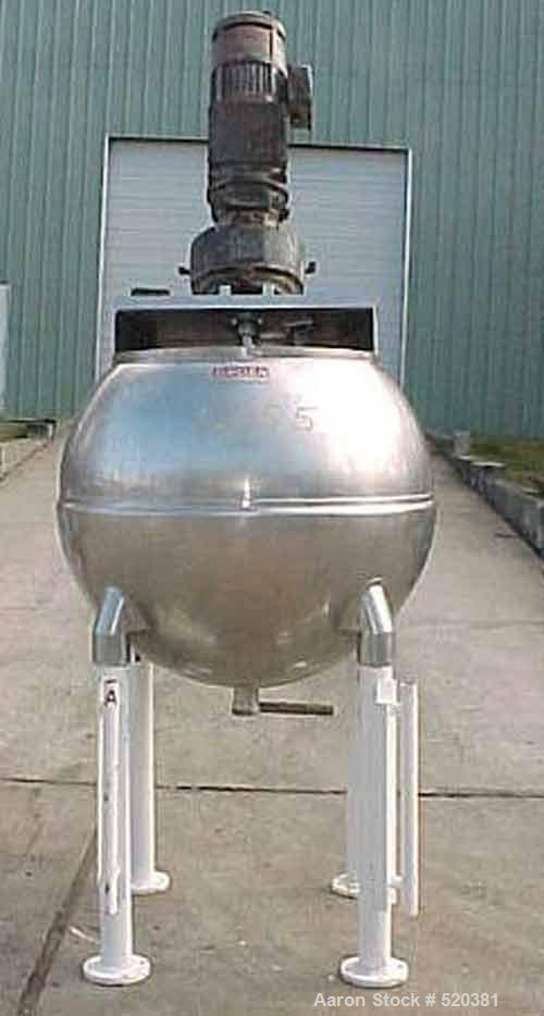 USED: Groen 150 gallon kettle, model INA-150-SP, with angled singlemotion scraper surface agitation with variable speed 2 hp...