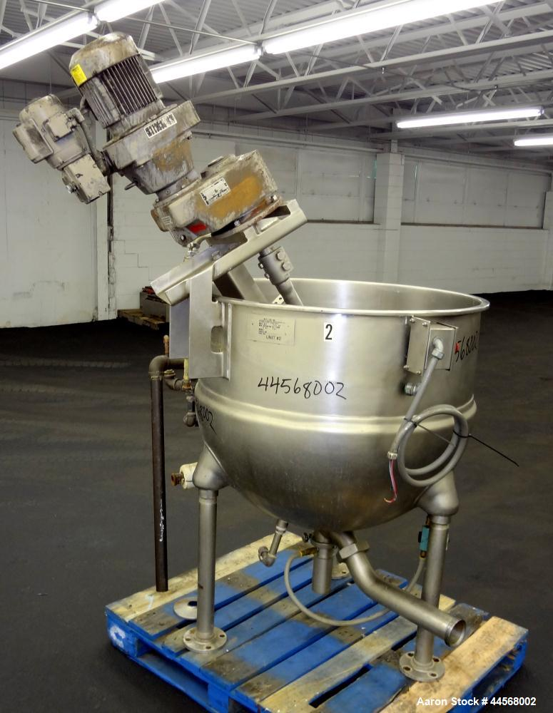 "Used- Groen Inclined Agitated Kettle, 100 Gallon, Model INA/2-100, 304 Stainless Steel. Approximately 34"" diameter x 30"" dee..."