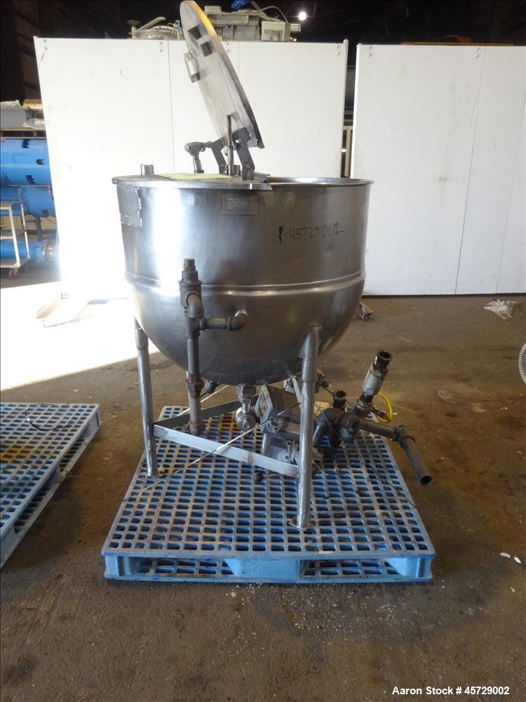 "Used- Groen Kettle, 100 Gallon, Model N 100 SP, 304 Stainless Steel, Vertical. 36"" Diameter x 30"" deep.  Open top with a 1/2..."