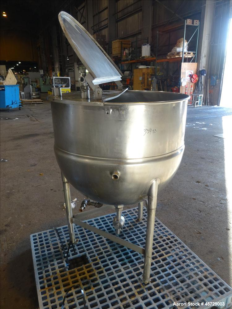 """Used- Groen Kettle, 100 Gallon, Model N 100 SP, 304 Stainless Steel, Vertical. 36"""" Diameter x 30"""" deep.  Open top with a 1/2..."""