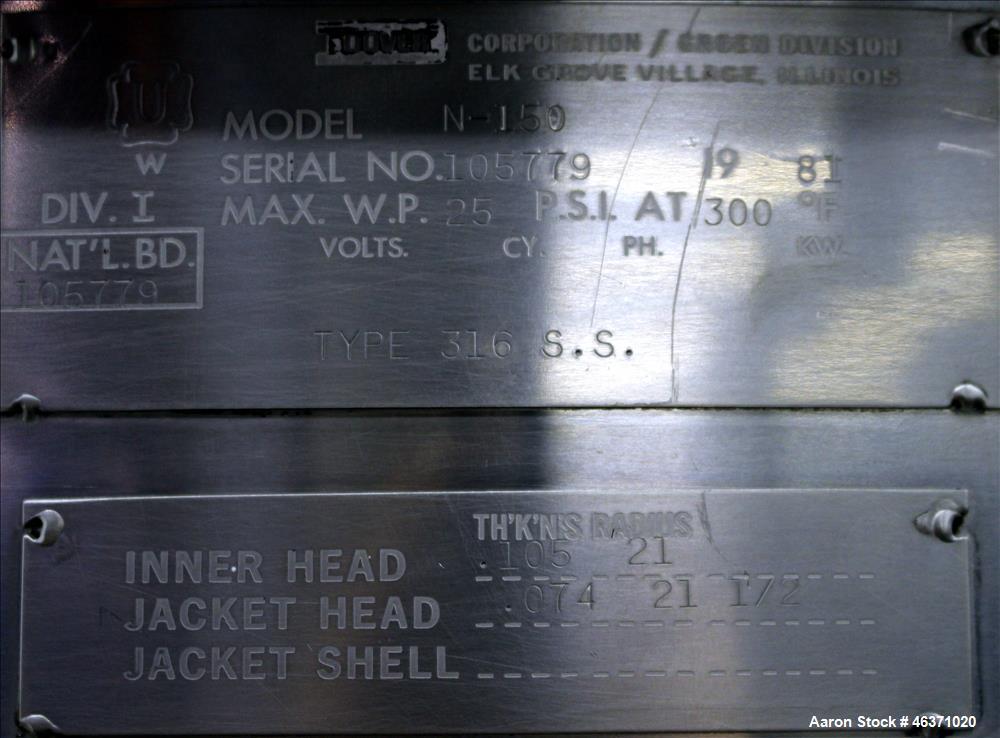 "Used- Groen Kettle, Model N-150, 316 Stainless Steel, Vertical. Approximately 42"" diameter x 33-1/2"" deep. Flat top with (2)..."