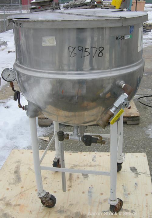 """USED: Groen kettle, 60 gallon, model N-60, 316 stainless steel, vertical. 30"""" diameter x 24"""" deep x jacketed hemi bottom, ra..."""