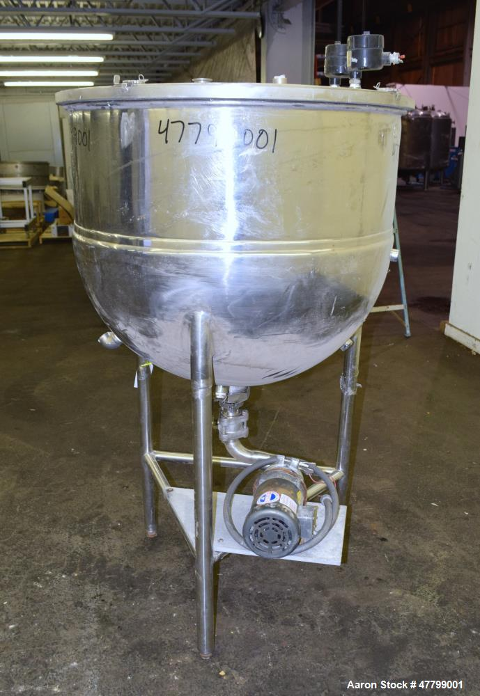 "Used- Groen Kettle, 100 Gallon, Model N-100, 304 Stainless Steel. 36"" Diameter x 30"" deep, open top with a 1/2 hinged cover,..."
