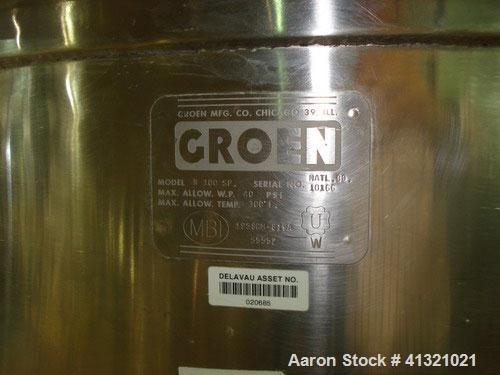 Used- Groen Kettle, 100 Gallon, Model N100SP, Stainless Steel. Open top, no covers, jacketed hemispherical bottom, rated 40 ...