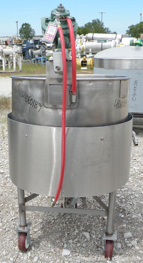 "Used- Groen Kettle, 80 Gallon, Model N80SP, 304 Stainless Steel, Vertical, 32"" diameter x 29"" deep, open top, no cover, jack..."