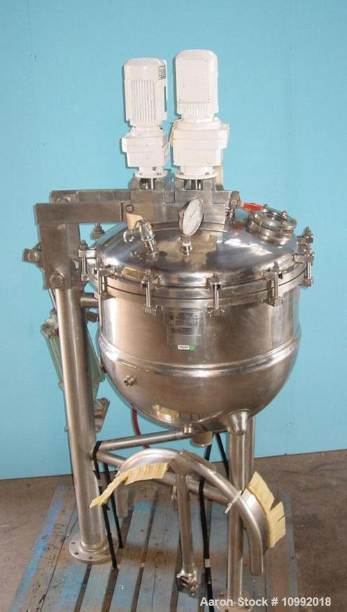 Used- 50 gal Groen model NVA/TA/-50 jacketed 316 stainless steel vacuum kettle, hydraulic tilt out lid and agitation, sweep ...
