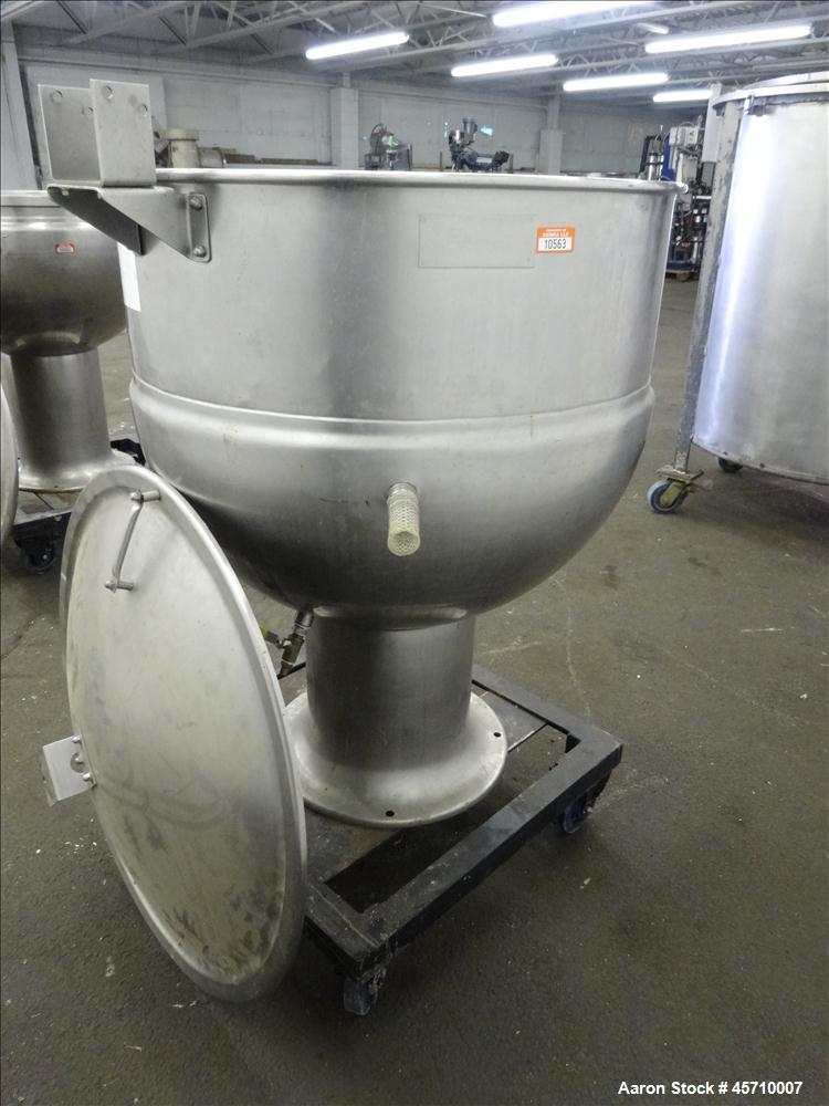 "Used- Groen Pedestal Mounted Kettle, 60 Gallon, Model PT-60, 304 Stainless Steel, Vertical. 30"" Diameter x 25"" deep. Jacket ..."
