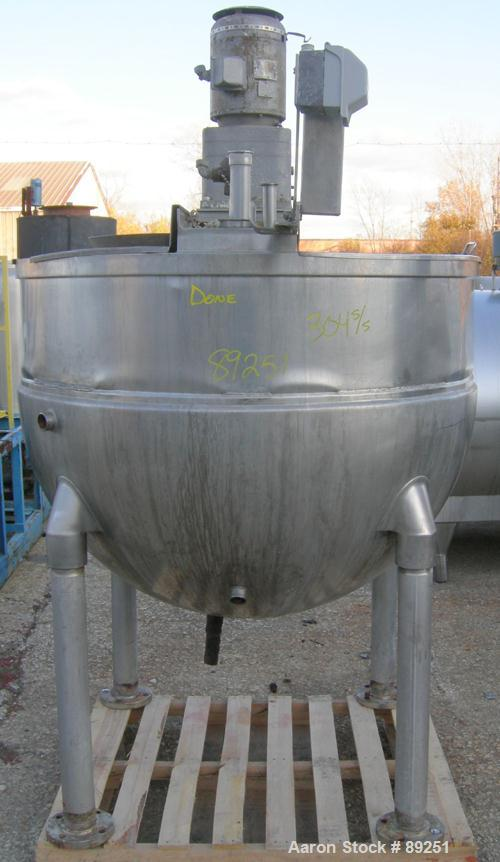 "USED: Groen kettle, 250 gallon, model RA-250, 304 stainless steel, vertical. Approximately 52"" diameter x 39"" deep. Jacketed..."
