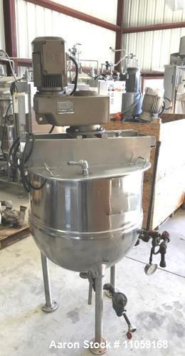 Used- 60 Gallon Groen Jacketed Mix Kettle, Model RA-60. Steam Jacket rated 100 psi at 338 Deg.F. Has sweep agitator with scr...
