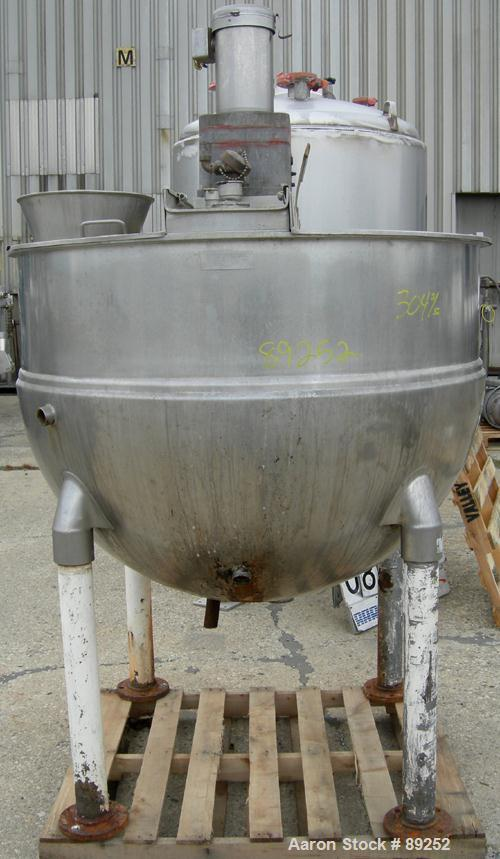 "USED: Groen kettle, 250 gallon, model RA-250SP, 304 stainless steel, vertical. Approximately 52"" diameter x 39"" deep. Jacket..."