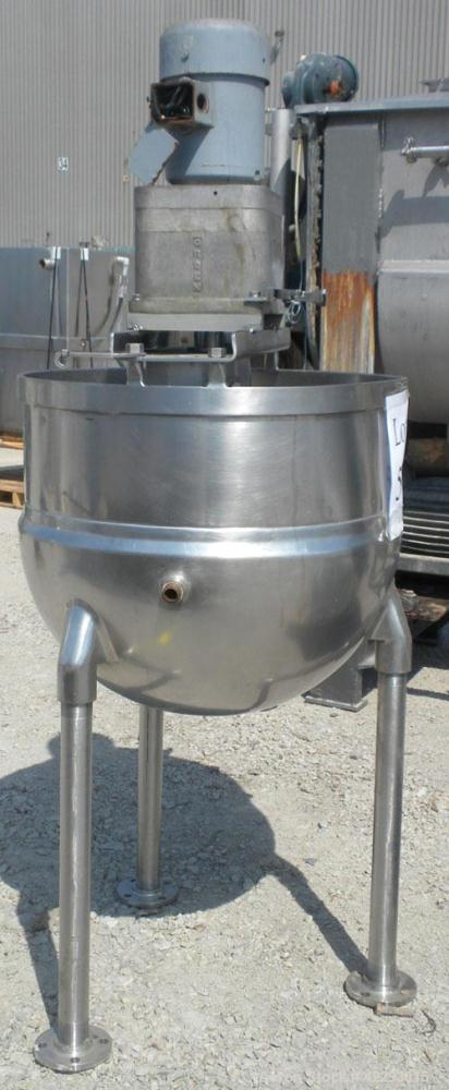 "Used- Groen Kettle, 60 Gallon, Model RA60, 304 stainless steel. 30"" Diameter x 24"" deep. Open top, no cover, jacketed hemisp..."